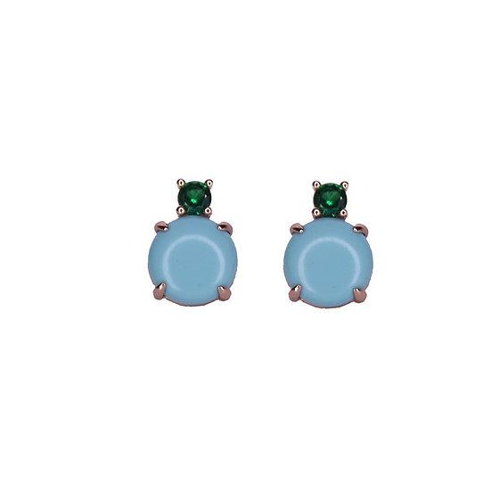 עגילי אבן טורקיז וזרקון ירוק צמודים