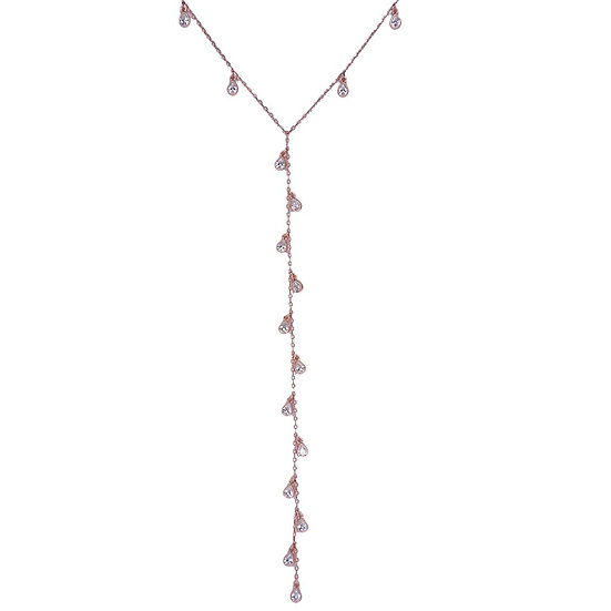 Long necklace with zircons falling