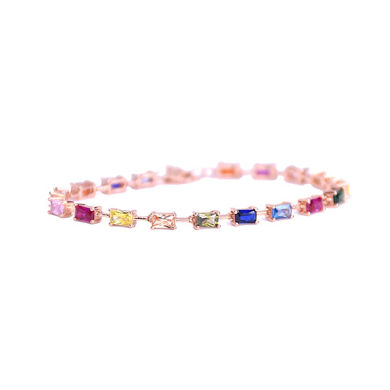 Tennis bracelet with colorful gems