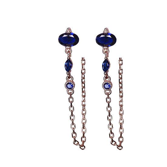 עגילי זרקונים כחולים עם שרשרת נופלת