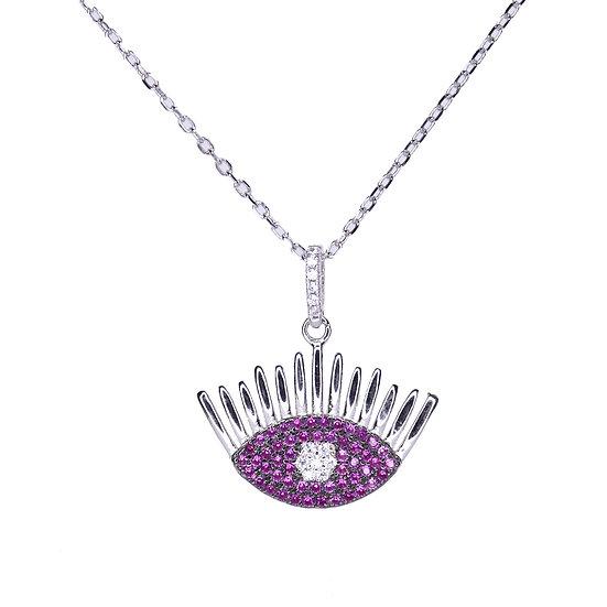 Ruby eyelash pendant necklace