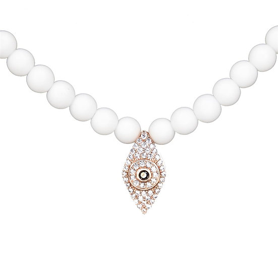 White beads necklace with evil eye