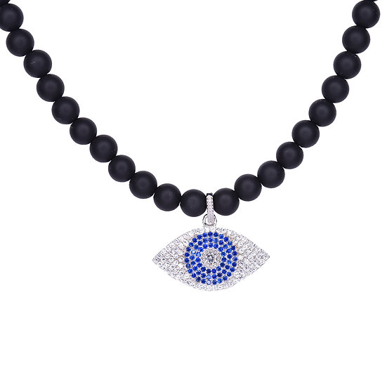 Blue evil eye beads necklace