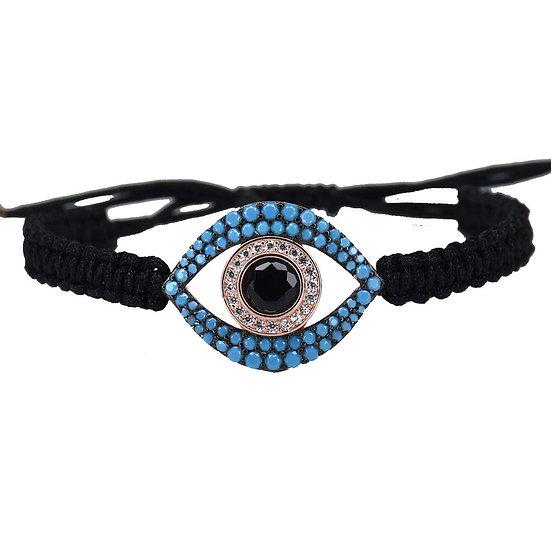 צמיד חוט שחור עם עין טורקיז חלולה