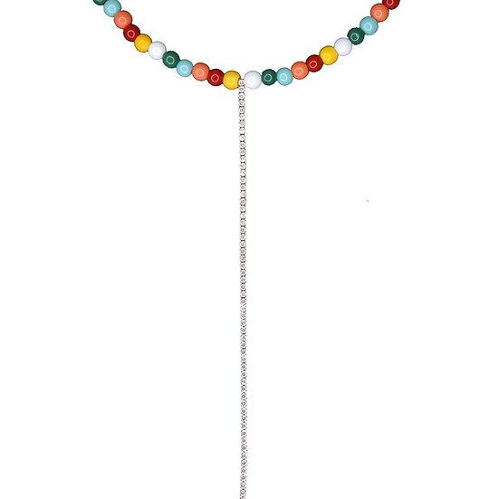 שרשרת חרוזים צבעוניים עם טניס נופל