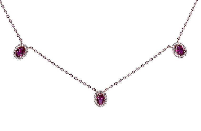 3 Ruby Oval Gems Necklace