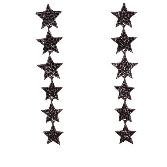 Black long stars earrings