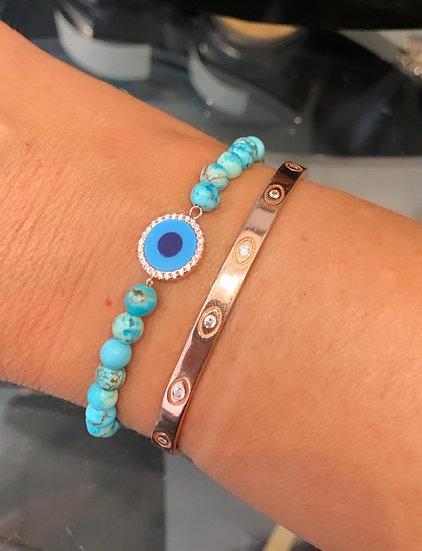 Turquoise beads bracelet with turquoise evil eye