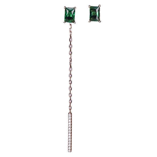 עגילי מלבן ירוק עם פס נופל