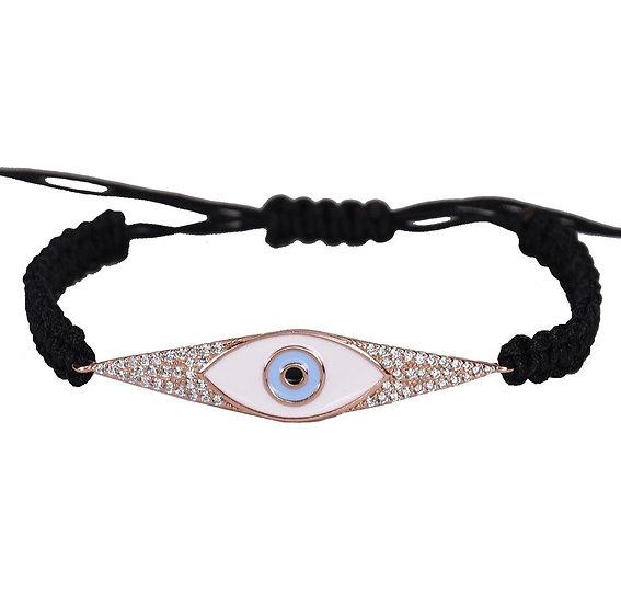 צמיד חוט שחור עם פלטה בשילוב עין לבנה