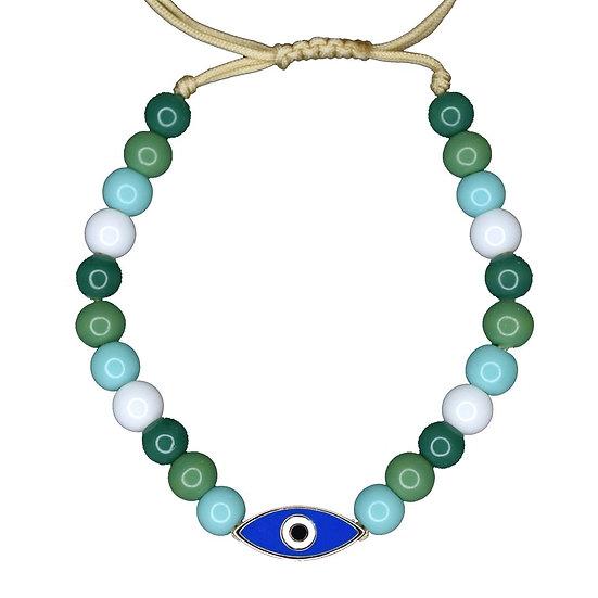 צמיד חרוזים צבעוניים עם עין אמייל כחול