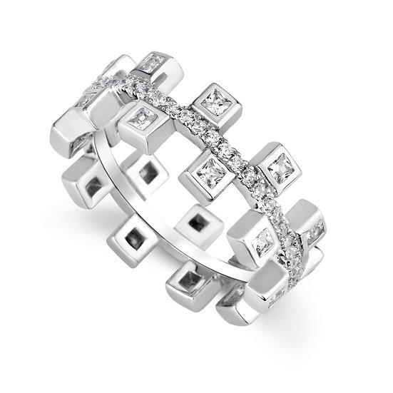 טבעת פס עם ריבועים