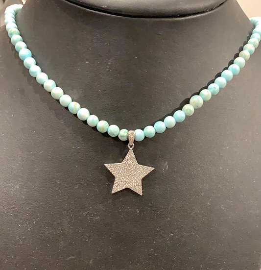 Turquoise beads with star necklace