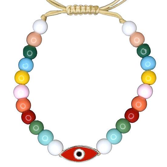 צמיד חרוזים צבעוניים עם עין אמייל אדומה