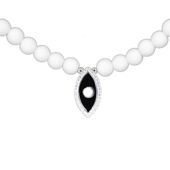 White beads necklace with black evil eye
