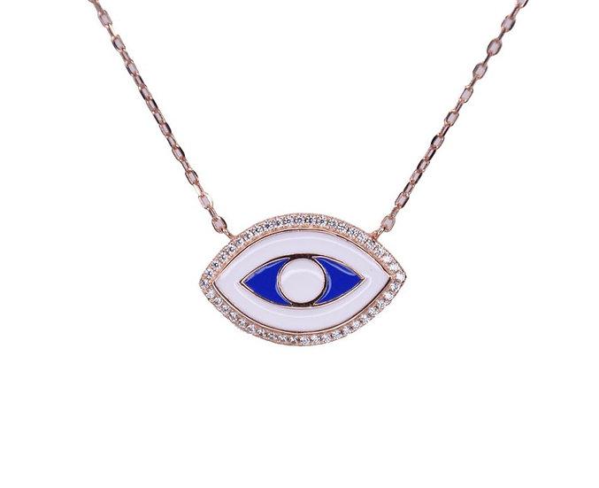 שרשרת עין אמייל כחולה