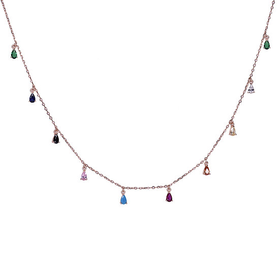 Colorful falling drops necklace