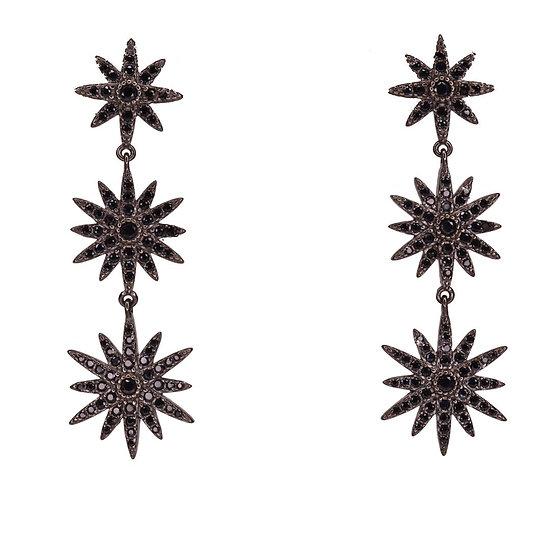 עגילי כוכבים זיקוקים שחורים נופלים
