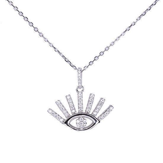 Eye lash pendant necklace inlaid