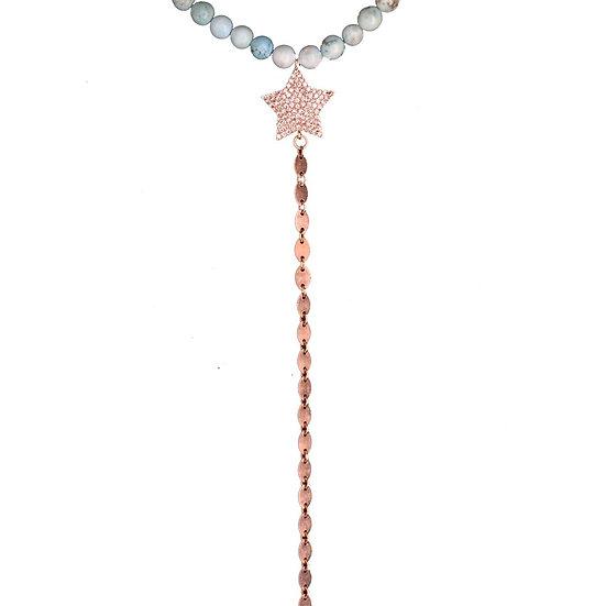 שרשרת חרוזים טורקיז/לבנים עם כוכב ושרשרת נופלת