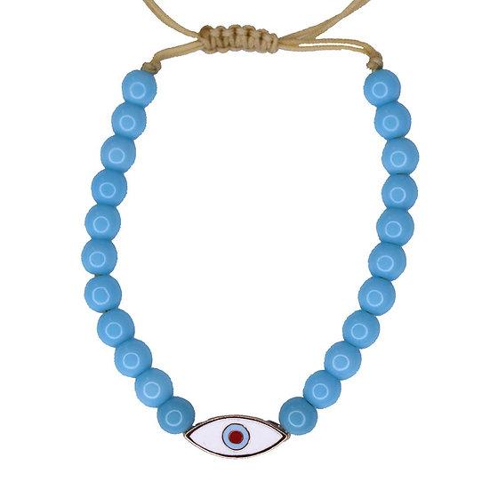צמיד חרוזים כחולים עם עין אמייל לבן