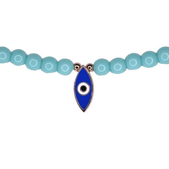 שרשרת חרוזים טורקיז עם עין אמייל כחול