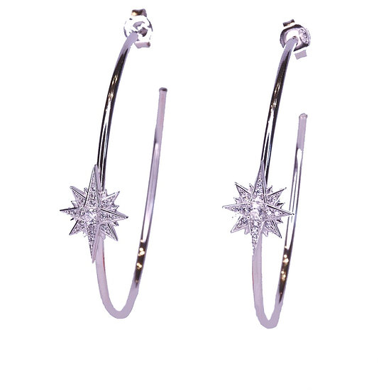 Flare star hoop earrings