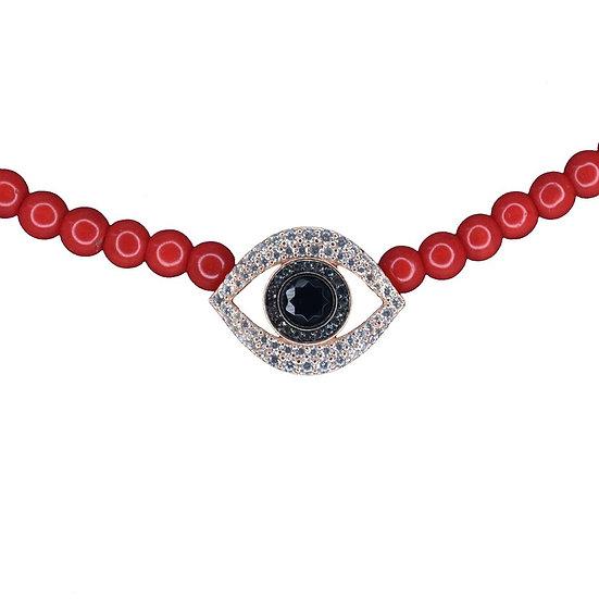 שרשרת חרוזים אדומים עם עין משובצת