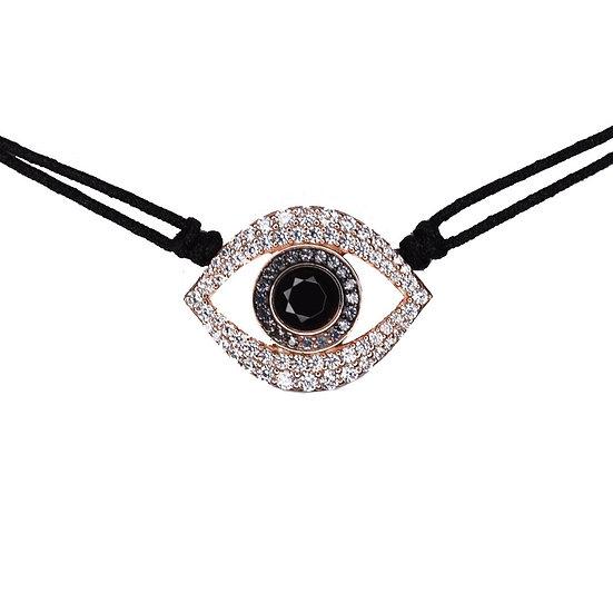 שרשרת חוט שחור עם עין חלולה