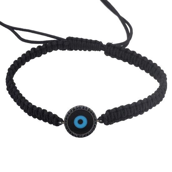 צמיד גבר חוט שחור עם עין עיגול טורקיז משובצת