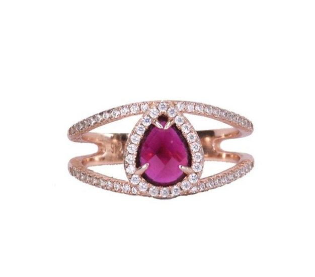 טבעת אבן רובי טיפה מרכזית