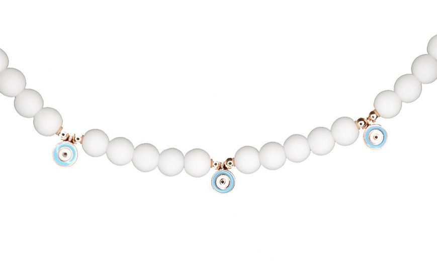 White beads necklace with falling small evil eyes