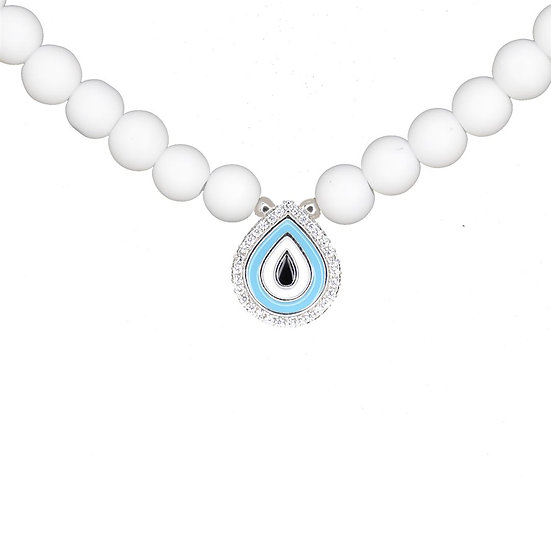 White beads necklace with drop evil eye