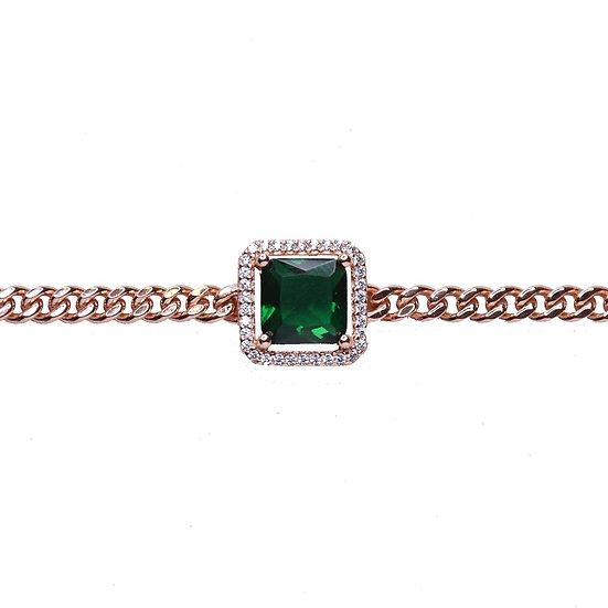 שרשרת צ'וקר גורמט עם אבן חן ריבוע ירוק