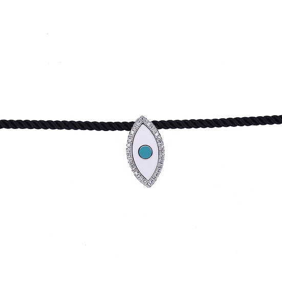 Cotton collar necklace with enamel eye