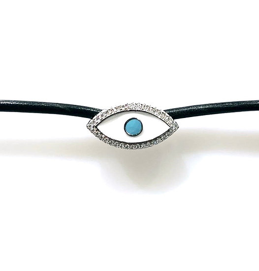 Leather collar necklace with evil eye