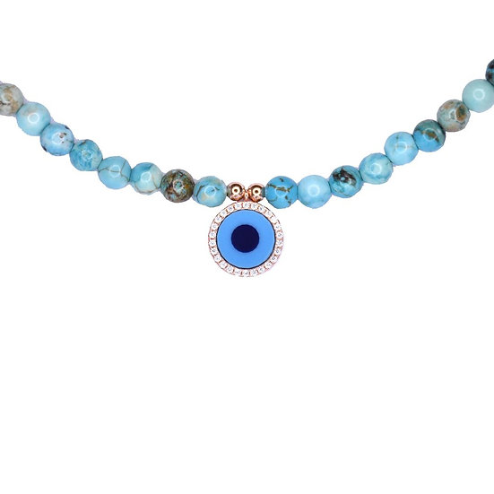 Turquoise beads necklace with small turquoise evil eye