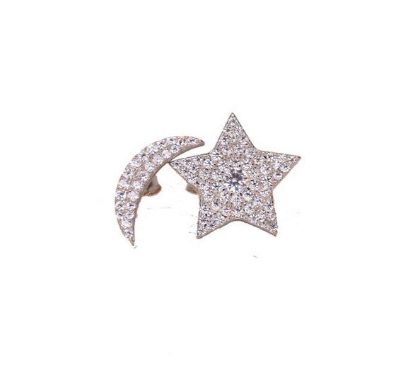 Moon Star Stud Earrings