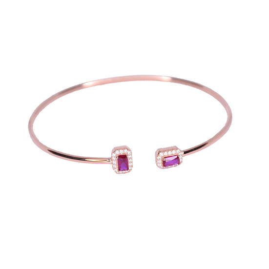 Open bangle bracelet with ruby gems