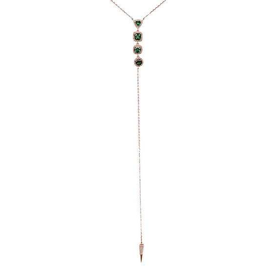 Long necklace with gems