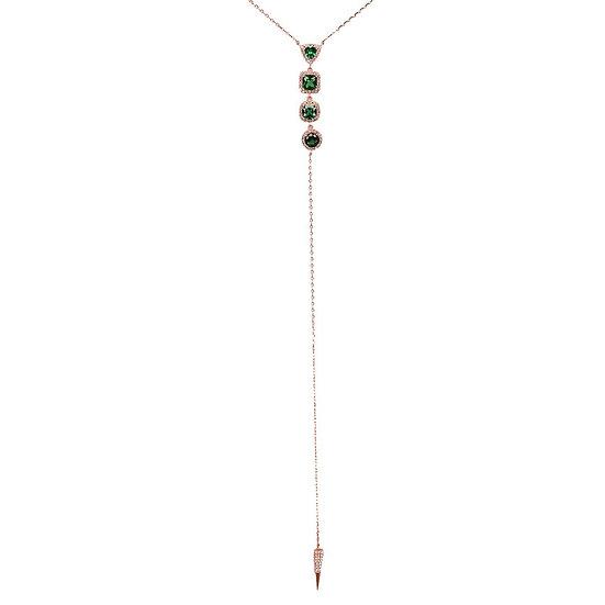 שרשרת נופלת עם אבני חן ירוק\שקוף