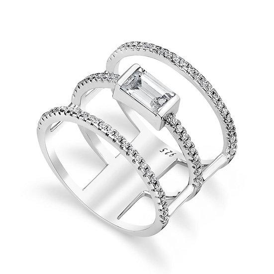 טבעת 3 פסים עם אבן באגט