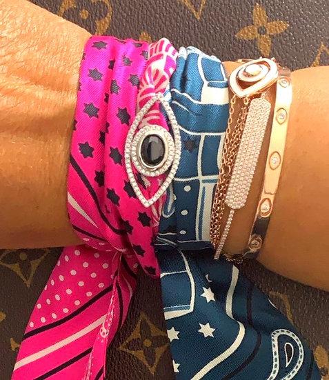 Bandanna bracelet with evil eye