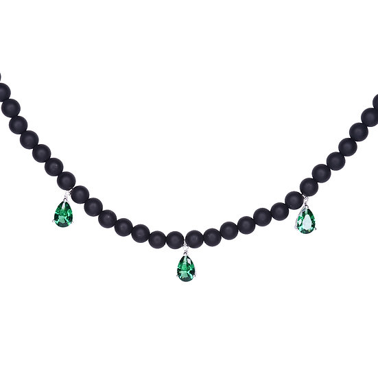 Beads necklace with 3 gems drops