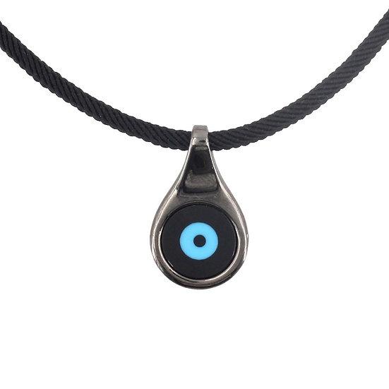 שרשרת גבר חוט שחור עם עין טורקיז