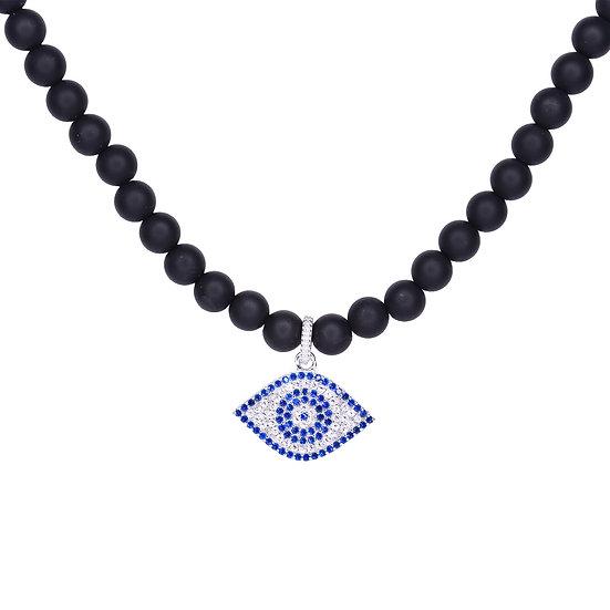 Blue eye beads necklace