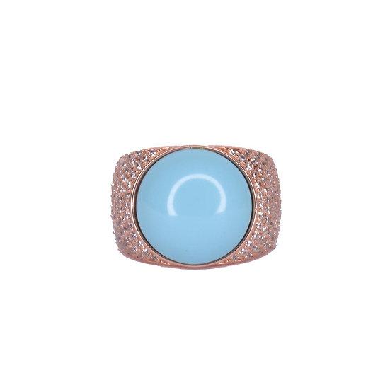 טבעת עיגול טורקיז לזרת