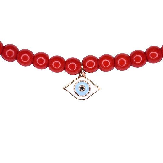 שרשרת חרוזים אדומים עם עין קטנה אמייל