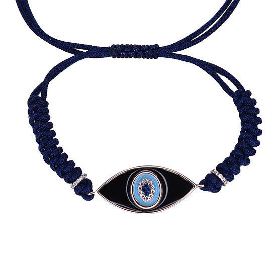 צמיד חוט כחול עם עין אמייל שחור (יוניסקס)