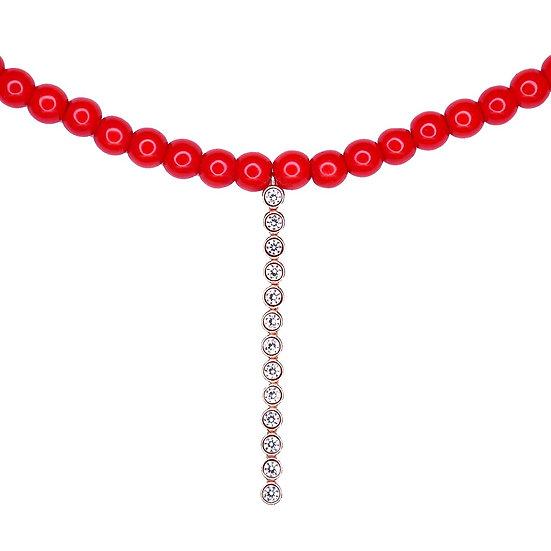 שרשרת חרוזים אדומים עם טניס קצר נופל